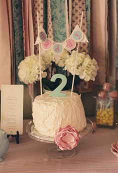 Number 2 Lollipop used in center of cake, sweet banner