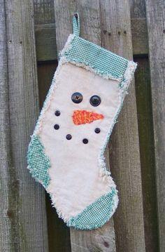 Primitive Rag Quilt Snowman Face Christmas by homespunhandcrafts
