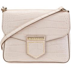 Givenchy Nobile Small Croc-Embossed Shoulder Bag (€1.525) ❤ liked on Polyvore featuring bags, handbags, shoulder bags, handbags shoulder bags, nude pink, pink shoulder bag, croc handbags, croc embossed leather handbags and pink shoulder handbags