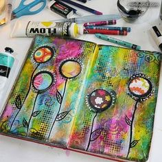 Art Journal Page - So happy with my funky blooms! #painting...