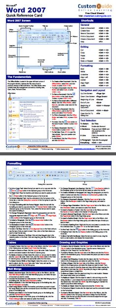 ms word 2007 cheat sheet pdf