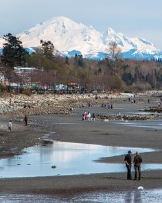 West Beach Reflections  . Tide out and a beautiful day at White Rock Beach on Easter Sunday. Tide pools reflect the massive and active glaciated andesitic stratovolcano in the distance. Mount Baker is located in the Cascade Volcanic Arc and the North Cascades of Washington State in the USA  Captured from the pier in White Rock British Columbia Canada  April 16 2017