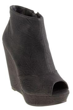 Leather Peep-Toe Wedge Bootie In Black.