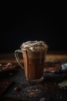 Melted hot chocolate with sea salt whipped cream | Adventures in Cooking