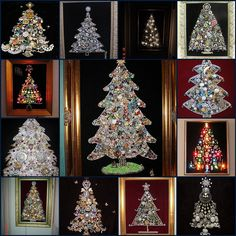 Christmas Trees made from Vintage rhinestone and costume jewelry