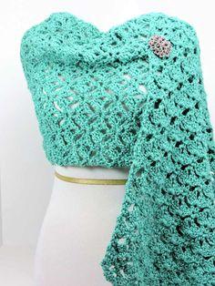 Emerald Lace Fling Wrap By Kim Guzman - Free Crochet Pattern - (crochetkim) Crochet Prayer Shawls, Crochet Shawls And Wraps, Crochet Scarves, Crochet Clothes, Lace Shawls, Crochet Wrap Pattern, Crochet Lace, Crochet Stitches, Captain Hook