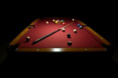 Pool table - red felt