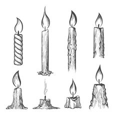 Candle hand drawn set by vectortatu on Ink Illustrations, Art Drawings Sketches, Easy Drawings, Pencil Drawings, Tattoo Sketches, Tattoo Drawings, Candle Sketch, Candle Drawing, Fire Drawing