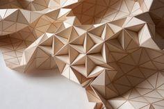 """""""Wooden Textile"""", flexible wooden art installations by textile designer Elisa Strorzyk."""