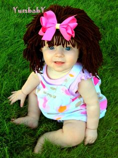 Items similar to Baby GIrl Hat- Cabbage Patch Inspired Baby Wig- Winter Hat- Brown Yarn Wig- Raggedy Ann Yarn Wig- Unique Baby Photo Prop- Dolly Costume on Etsy Halloween Costumes For Teens, Toddler Costumes, Cute Costumes, Baby Costumes, Baby Girl Hats, Girl With Hat, Crochet Kids Hats, Crochet Baby, Crochet Wigs