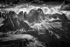Mount Rosengarten (Dolomite Alps) by franzengels Volcano, Alps, Mount Everest, Mountains, Black And White, Travel, Outdoor, Landscapes, Popular