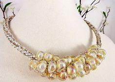 Teardrop Bead Kumihimo Braid Necklace, Cream Luster, Silk Ribbon, Satin Cord, Handmade Unicorn Beads, Boro Glass, Gold Magentic Clasp, OOAK