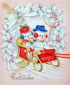 #316 40s Snowman Couple in a Sleigh, Vintage Christmas Card-Greeting