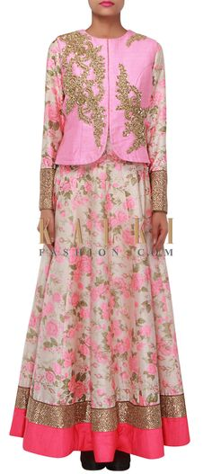 Buy Online from the link below. We ship worldwide (Free Shipping over US$100) http://www.kalkifashion.com/cream-anarkali-suit-enhanced-in-floral-print-and-zardosi-and-sequin-embroidery-only-on-kalki.html