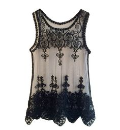 Embroidered Mesh Tank Top With Scallop Hem