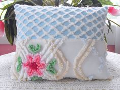 Chenille Patchwork Pillow.   I love this.