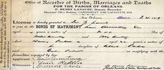 The Louisiana State Archives houses Orleans Parish Marriage Records more than 50 years old. Death Records Index, Orleans parish birth index, and more.