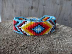 Native American Beaded Bracelet. American Indian. Seed beads. Loom bracelet traditional motifs