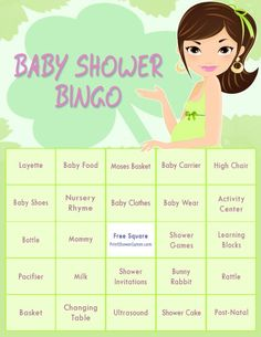 St. Patricks Day Baby Shower Bingo Game