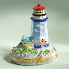 Limoges Blue Lighthouse Box The Cottage Shop