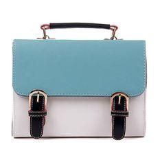 Vintage Fashion Contrast Colors One Shoulder Messenger Bags Blue