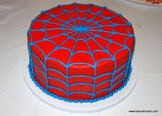 Blue and red spiderman spider web cake Spiderman Birthday Cake, Spiderman Theme, Superhero Cake, Spiderman Spider, Birthday Treats, 6th Birthday Parties, Birthday Fun, Cake Birthday, Spider Web Cake