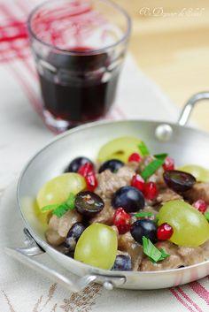 Filet mignon de porc au vin rouge, raisins et grenade (pork with red wine…