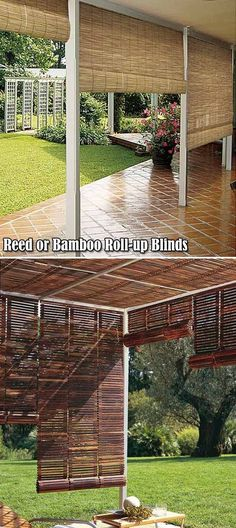 Reed or bamboo natural outdoor roll-up blinds.