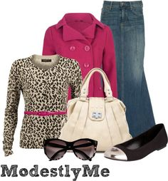 Animal print top, Jean skirt - Casual modest look - by modestlyme on Polyvore