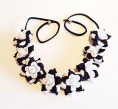 Black and White Rose Bud Flower by GigisShoppe on Etsy