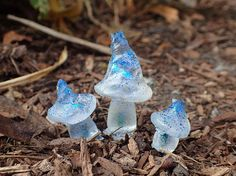 Beautiful Blue Sparkle Mushrooms for Miniature Fairy Gardens  Unique translucent glitter fairy garden mushrooms. Blue fairy garden mushroom kit set.