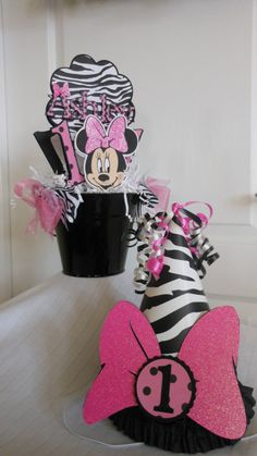 1st Birthday Sweet Celebration Package -Minnie Mouse Zebra and hot pink