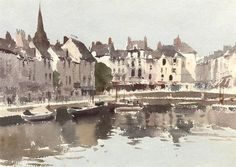 Edward Seago (1910 — 1974, UK) Early morning, Honfleur, France.  watercolour. 11¼ x 15¼ in. (28.5 x 38.7 cm.)