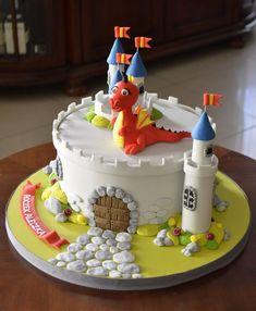 Dragon castle cake - Cake by Crumb Avenue Castle Birthday Cakes, Baby Boy Birthday Cake, Birthday Cake With Photo, Castle Cakes, Baby Cakes, Torta Clash Royale, Fondant Cakes, Cupcake Cakes, Knight Cake