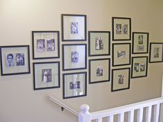 Wow, I like this frame layout for a large wall. And the pictures aren't all the same size, but the frames are. Very cool. Thinking the main wall in the informal eating space for family pictures, maybe?
