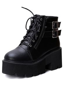 84431bcb7b952 Black Lace Up Buckle Strap Zipper Wedges Boots Black Wedge Shoes