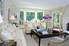 TRANSITIONAL LIVING ROOM WITH WHITE SOFAS  LAUREN MUSE