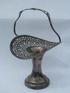 Victorian silver brides basket, antique vintage silver plate vase, pierced lace edge