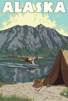 Alaska - Bush Plane & Fishing - Lantern Press Artwork (16x24 Gallery Quality Metal Art), Multi