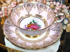 PARAGON CABINET TEA CUP AND SAUCER PINK FANCY GILT ROSE CENTER-FAB! | eBay