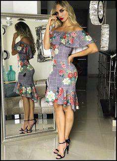 Look vestido com estampa xadrez floral ombro a ombro e sandália preta de tira Sexy Outfits, Sexy Dresses, Cute Dresses, Dress Outfits, Casual Dresses, Short Dresses, Fashion Dresses, Cute Outfits, Summer Dresses