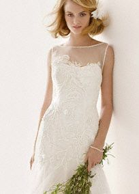 David's Bridal - Tulle Gown with Illusion Neck and Lace Appliques