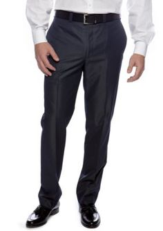 Calvin Klein Blue Slim Fit Flat Front Dress Pants