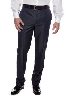 Calvin Klein Blue Slim Fit Flat Front Dress Pants