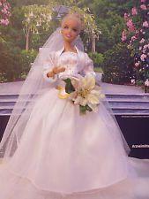 Barbie mit selbstgenähtes Kleid, Barby, Puppe, Mattel, Hochzeit, Unikat, Braut