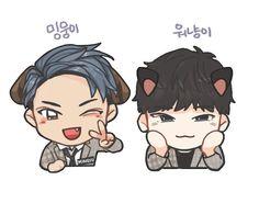 Mingyu and Wonwoo. Dino Seventeen, Mingyu Seventeen, Cartoon Fan, Cute Cartoon, Mingyu Wonwoo, Kpop Drawings, Seventeen Wallpapers, Meanie, Wattpad