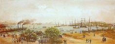 Emil Bauch (1823-after 1874)-'pier Pharoux, Rio de Janeiro'-tempera on paper    Rio de Janeiro-Museu Histórico e Diplomático (Itamaraty Palace)