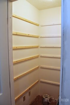 How to Build Pantry Shelving – The Craft Patch Learn how to build strong and sturdy pantry shelving (or walk-in closet shelving) with this detailed tutorial. - Pantry With One Redo Closet Built Ins, Built In Pantry, Built In Shelves, Build Shelves, Building Closet Shelves, Corner Closet Shelves, Wall Shelves, Floating Shelves, Pantry Room