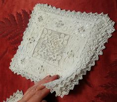5 Handmade Italian linen lace doilies squares c1900