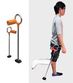 FreeMo - An adjustable walking aid that acts as a prosthetic leg and conventional crutches. Designed by Soo Woei Perng, Diploma in Product Design & Innovation.